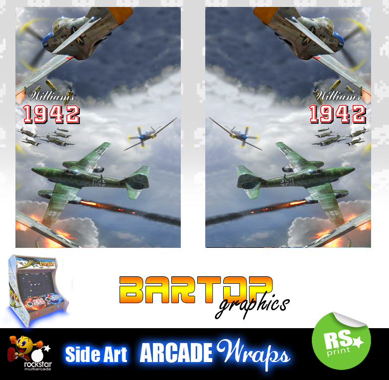 1942 Arcade Side Art Panel Stickers Graphics Laminated