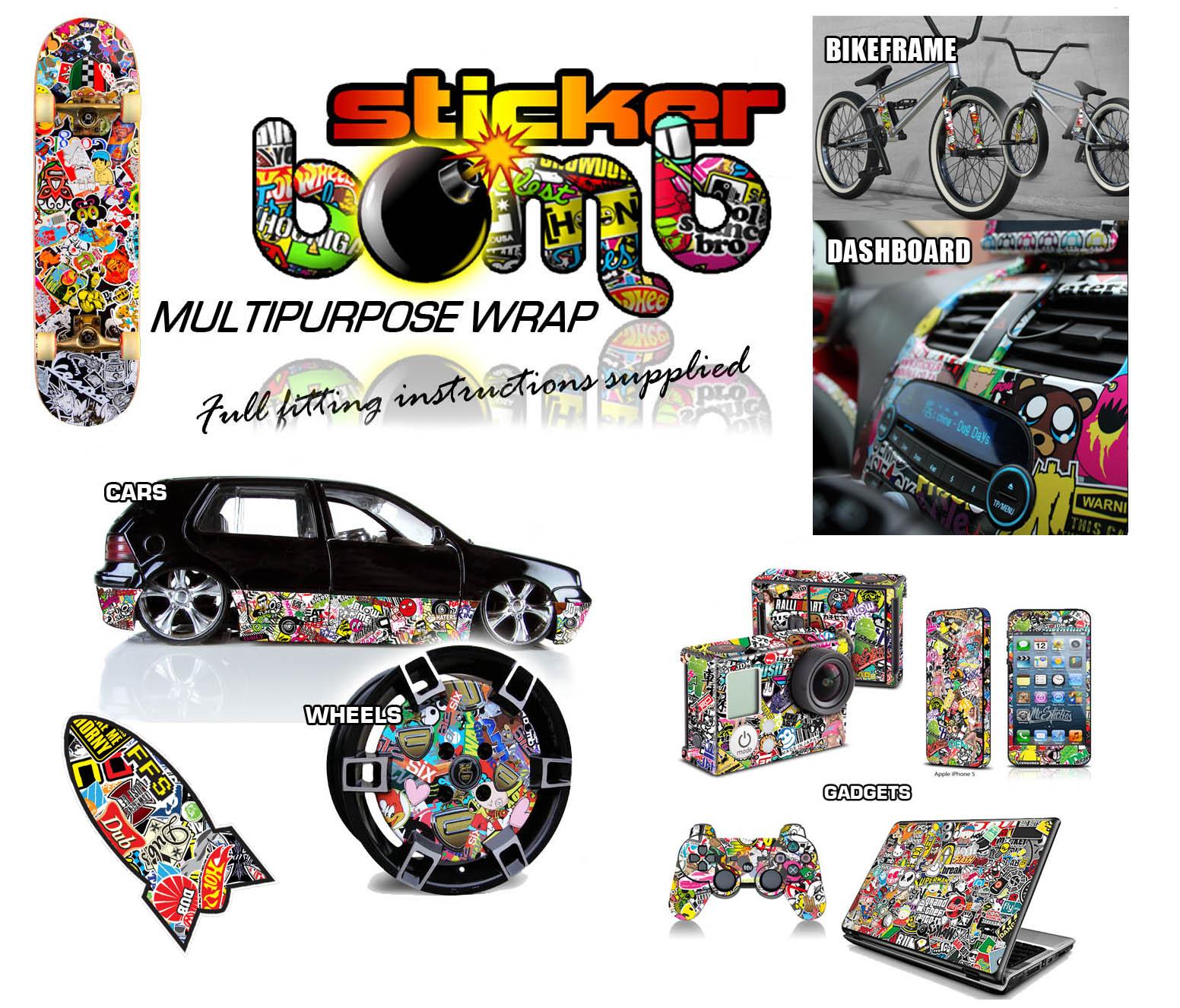 StickerBomb Colour Sticker Artwork Decal Wrap Multipurpose Skull Set 1 Theme Lrg