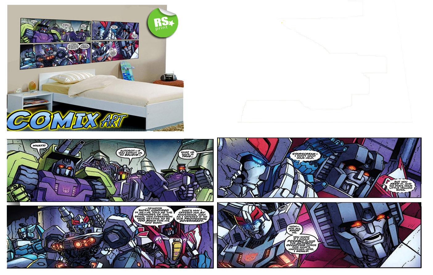 kids bedroom wall sticker decal transformers comic book v lrg